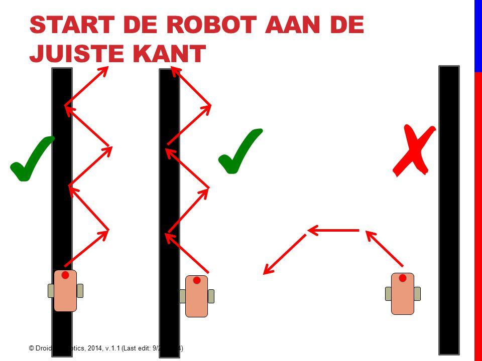 START DE ROBOT AAN DE JUISTE KANT ✔ ✗ ✔ © Droids Robotics, 2014, v.1.1 (Last edit: 9/22/2014)