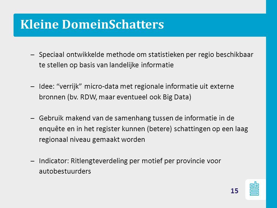 """Kleine DomeinSchatters – Speciaal ontwikkelde methode om statistieken per regio beschikbaar te stellen op basis van landelijke informatie – Idee: """"ver"""