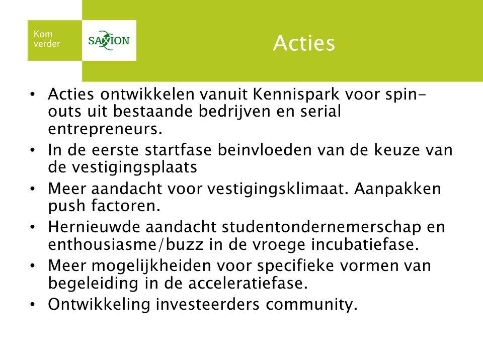 Acties Acties ontwikkelen vanuit Kennispark voor spin- outs uit bestaande bedrijven en serial entrepreneurs.