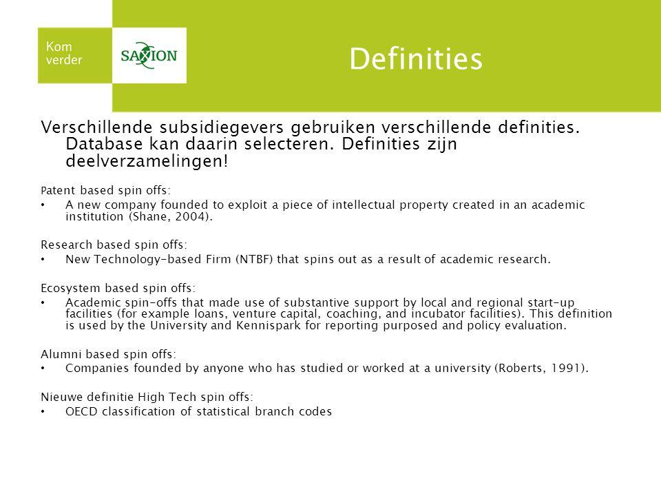 Definities Verschillende subsidiegevers gebruiken verschillende definities.