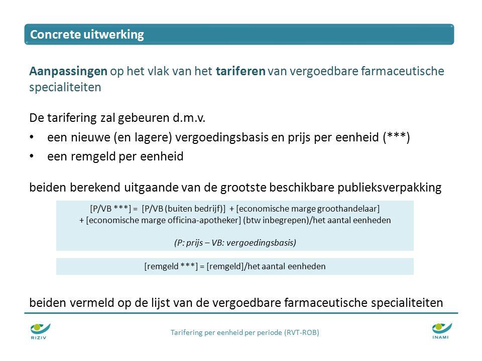 Tarifering per eenheid per periode (RVT-ROB) Aanpassingen op het vlak van het tariferen van vergoedbare farmaceutische specialiteiten De tarifering zal gebeuren d.m.v.