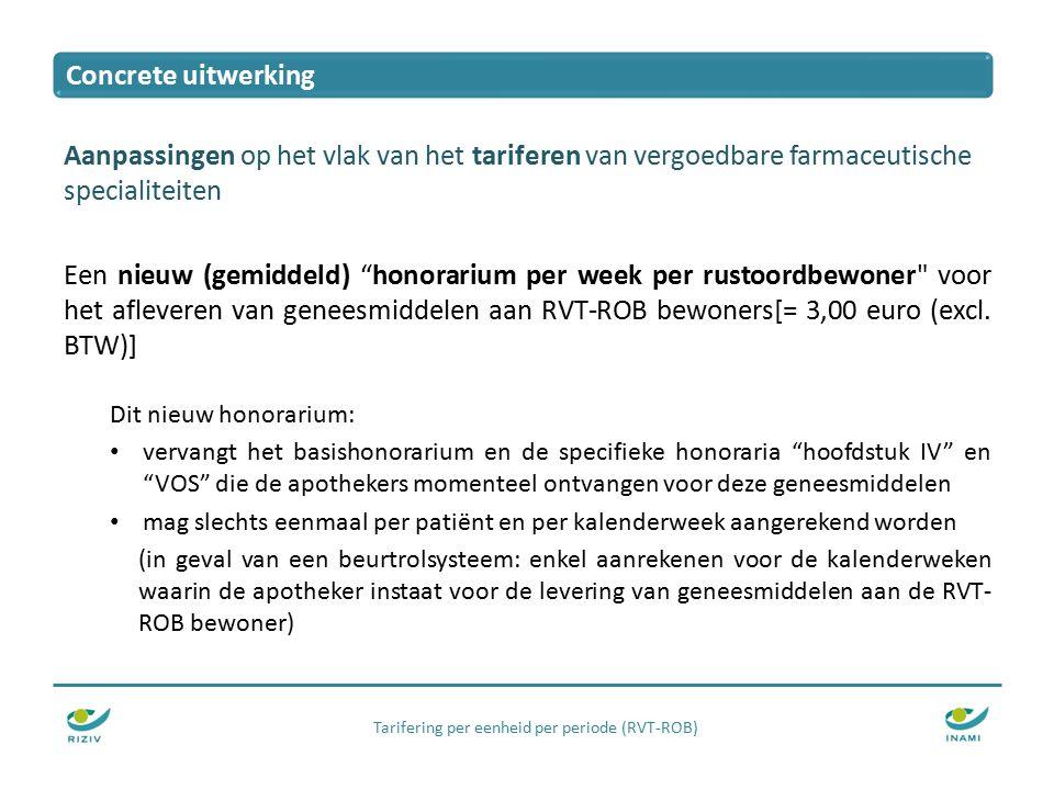Tarifering per eenheid per periode (RVT-ROB) Aanpassingen op het vlak van het tariferen van vergoedbare farmaceutische specialiteiten Een nieuw (gemiddeld) honorarium per week per rustoordbewoner voor het afleveren van geneesmiddelen aan RVT-ROB bewoners[= 3,00 euro (excl.