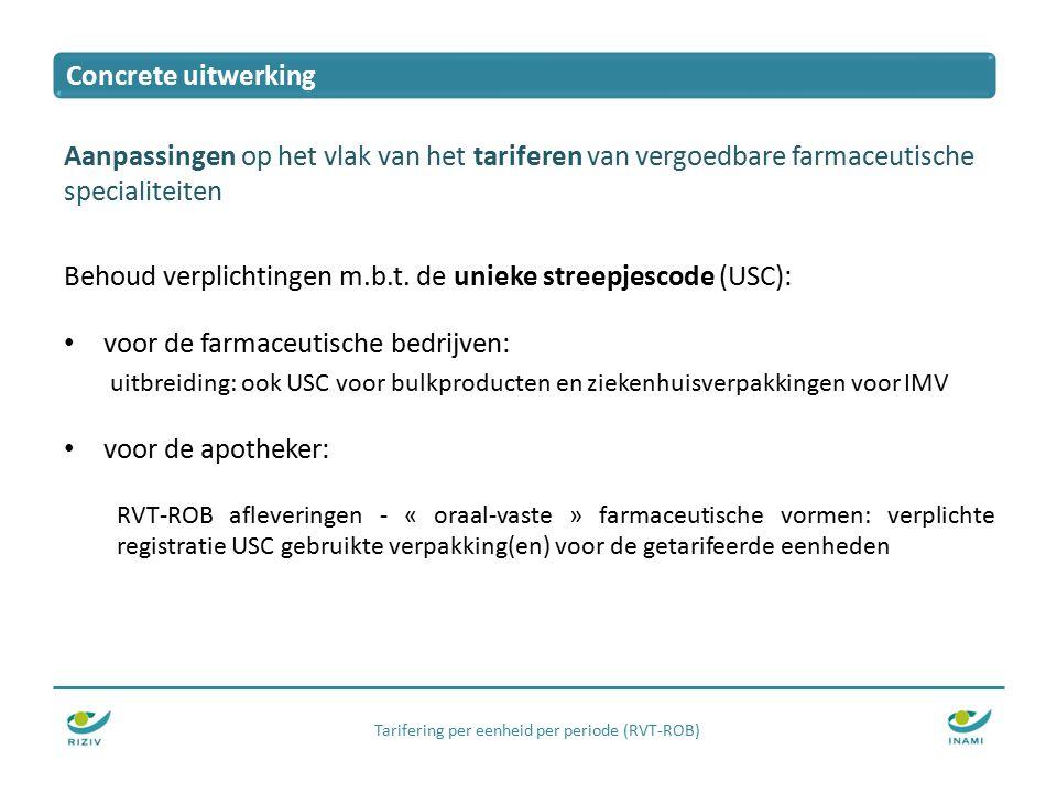 Tarifering per eenheid per periode (RVT-ROB) Aanpassingen op het vlak van het tariferen van vergoedbare farmaceutische specialiteiten Behoud verplichtingen m.b.t.
