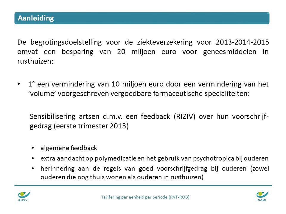 De begrotingsdoelstelling voor de ziekteverzekering voor 2013-2014-2015 omvat een besparing van 20 miljoen euro voor geneesmiddelen in rusthuizen: 1° een vermindering van 10 miljoen euro door een vermindering van het 'volume' voorgeschreven vergoedbare farmaceutische specialiteiten: Sensibilisering artsen d.m.v.