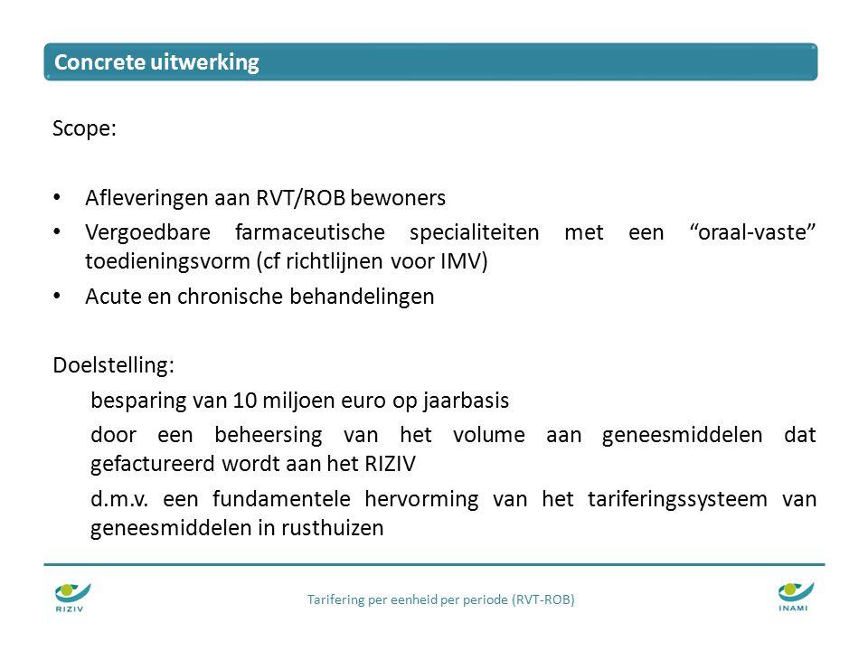 Tarifering per eenheid per periode (RVT-ROB) Scope: Afleveringen aan RVT/ROB bewoners Vergoedbare farmaceutische specialiteiten met een oraal-vaste toedieningsvorm (cf richtlijnen voor IMV) Acute en chronische behandelingen Doelstelling: besparing van 10 miljoen euro op jaarbasis door een beheersing van het volume aan geneesmiddelen dat gefactureerd wordt aan het RIZIV d.m.v.