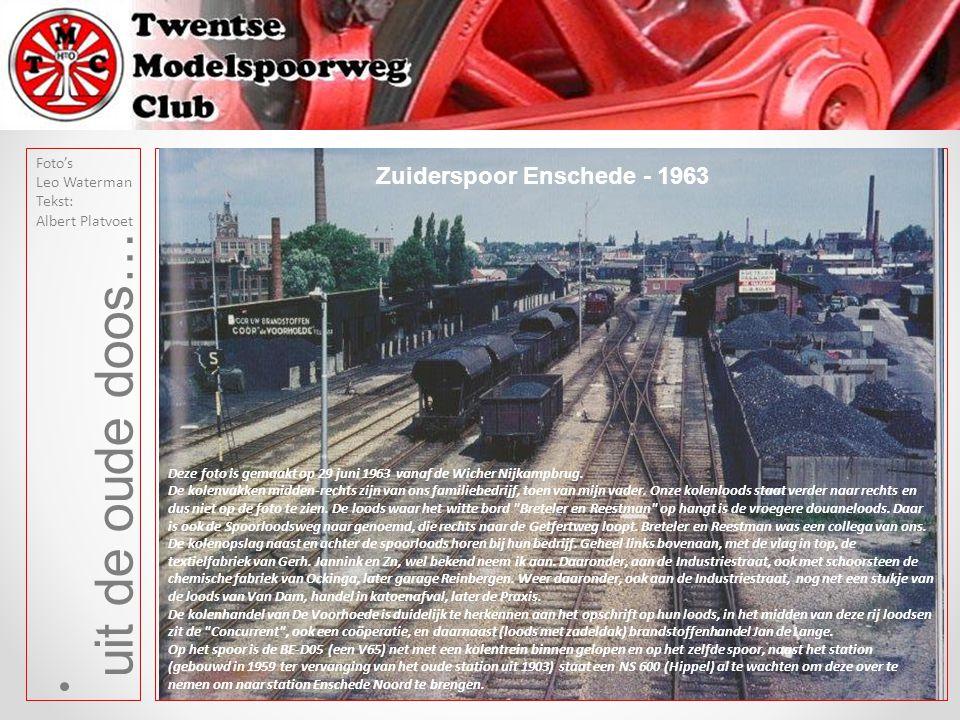 uit de oude doos… Foto's Leo Waterman Tekst: Albert Platvoet Deze foto is gemaakt op 29 juni 1963 vanaf de Wicher Nijkampbrug. De kolenvakken midden-r