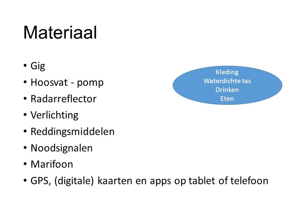 Materiaal Gig Hoosvat - pomp Radarreflector Verlichting Reddingsmiddelen Noodsignalen Marifoon GPS, (digitale) kaarten en apps op tablet of telefoon Kleding Waterdichte tas Drinken Eten