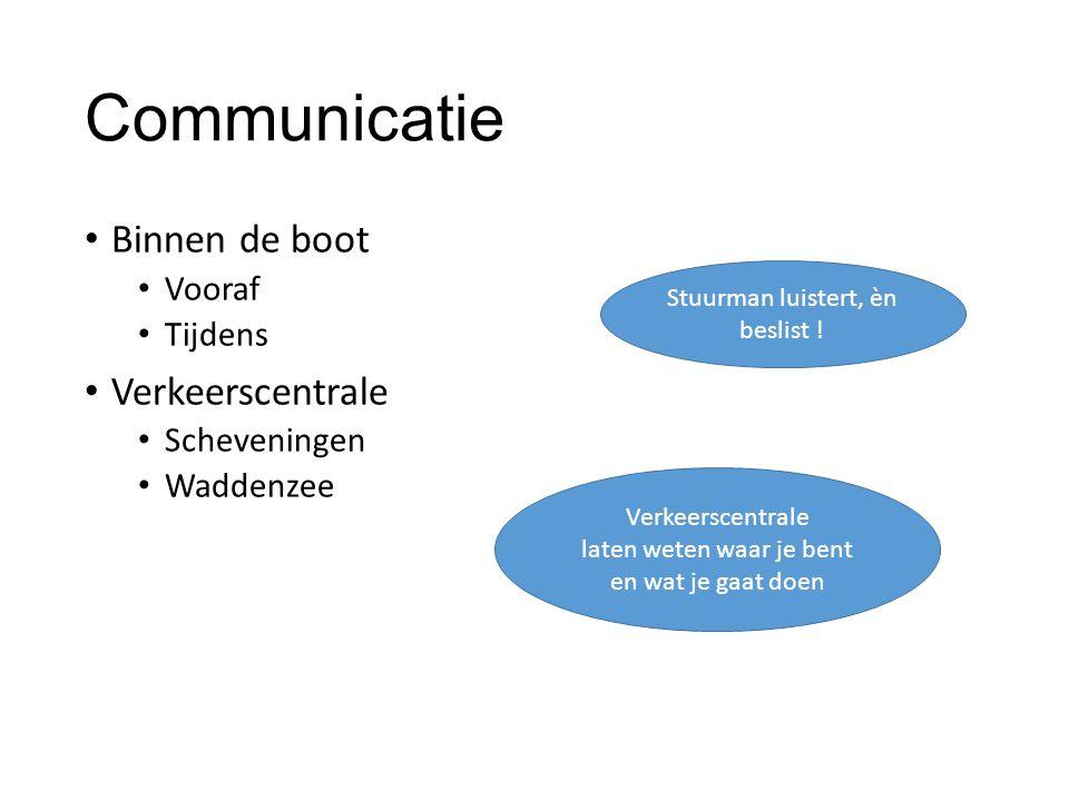 Communicatie Binnen de boot Vooraf Tijdens Verkeerscentrale Scheveningen Waddenzee Stuurman luistert, èn beslist .