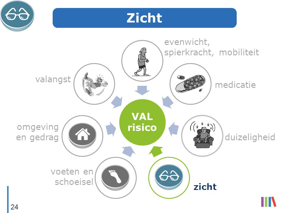 VAL risico evenwicht, spierkracht, mobiliteit medicatie duizeligheid zicht voeten en schoeisel omgeving en gedrag valangst Zicht 24