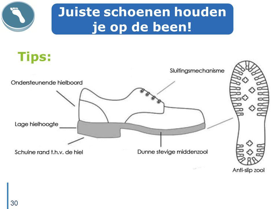 Juiste schoenen houden je op de been! Tips: 30