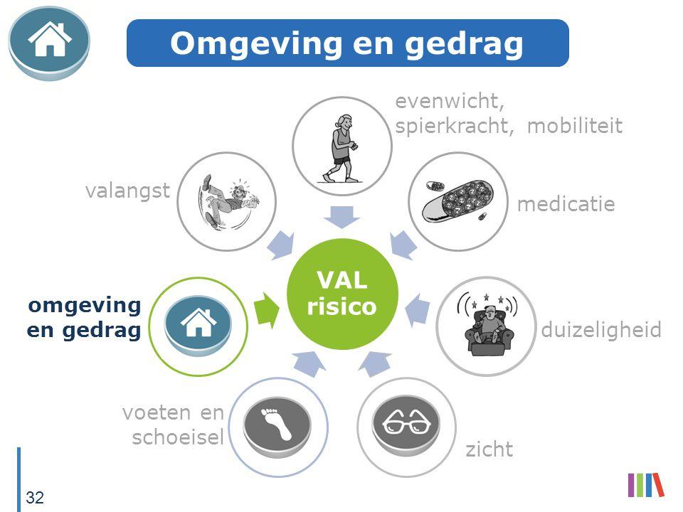 VAL risico evenwicht, spierkracht, mobiliteit medicatie duizeligheid zicht voeten en schoeisel omgeving en gedrag valangst Omgeving en gedrag 32