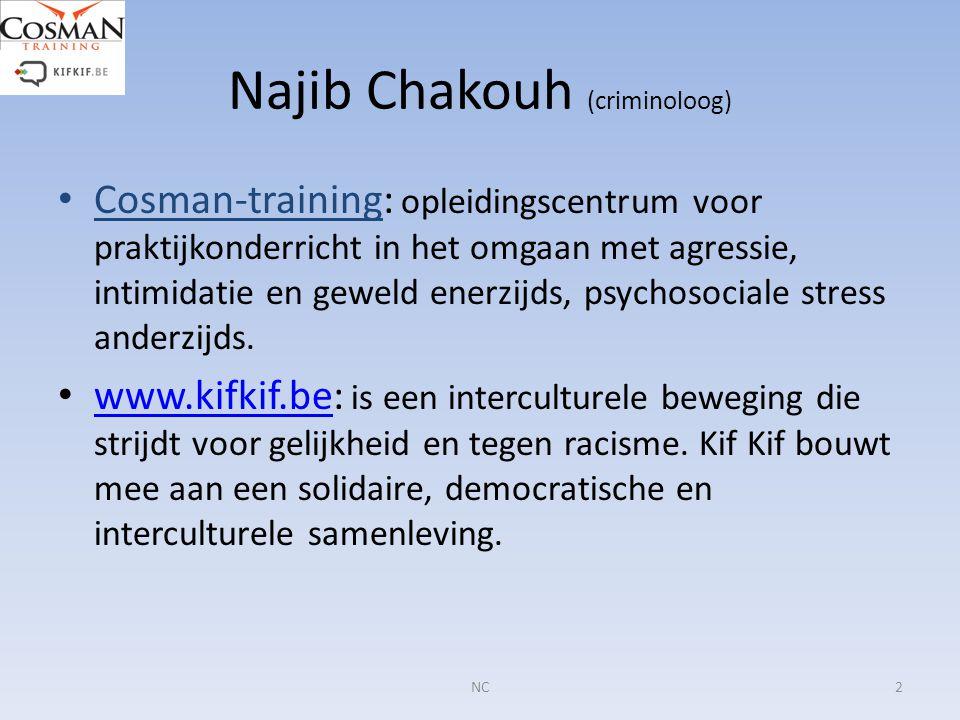 Najib Chakouh (criminoloog) Cosman-training: opleidingscentrum voor praktijkonderricht in het omgaan met agressie, intimidatie en geweld enerzijds, ps