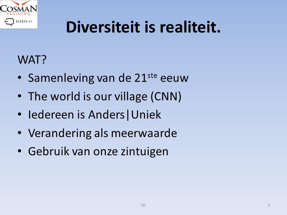 Diversiteit is realiteit. WAT? Samenleving van de 21 ste eeuw The world is our village (CNN) Iedereen is Anders|Uniek Verandering als meerwaarde Gebru