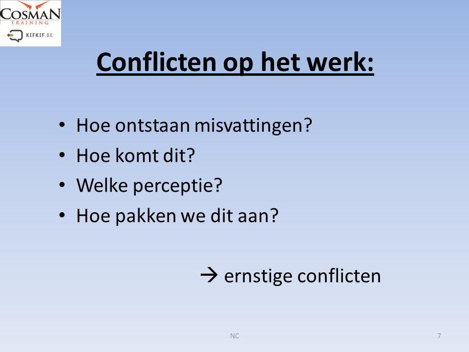 Conflicten op het werk: Hoe ontstaan misvattingen? Hoe komt dit? Welke perceptie? Hoe pakken we dit aan?  ernstige conflicten 7NC
