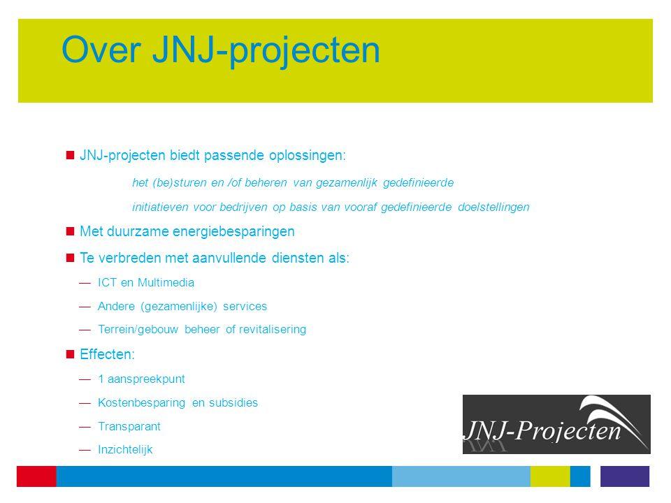 Over JNJ-projecten JNJ-projecten biedt passende oplossingen: het (be)sturen en /of beheren van gezamenlijk gedefinieerde initiatieven voor bedrijven op basis van vooraf gedefinieerde doelstellingen Met duurzame energiebesparingen Te verbreden met aanvullende diensten als: —ICT en Multimedia —Andere (gezamenlijke) services —Terrein/gebouw beheer of revitalisering Effecten: —1 aanspreekpunt —Kostenbesparing en subsidies —Transparant —Inzichtelijk