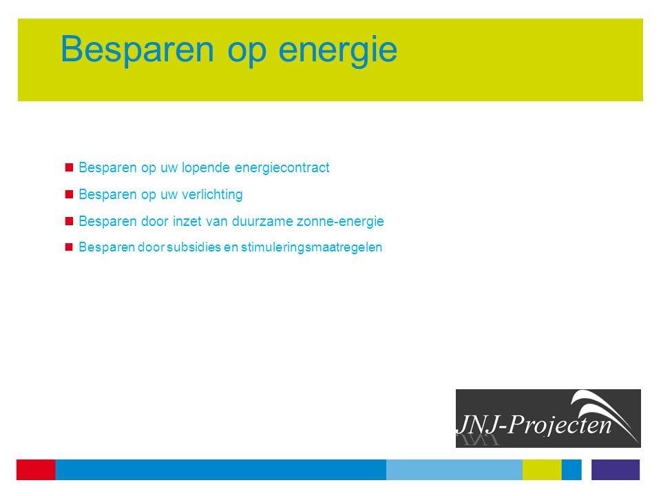 Besparen op energie Besparen op uw lopende energiecontract Besparen op uw verlichting Besparen door inzet van duurzame zonne-energie Besparen door subsidies en stimuleringsmaatregelen