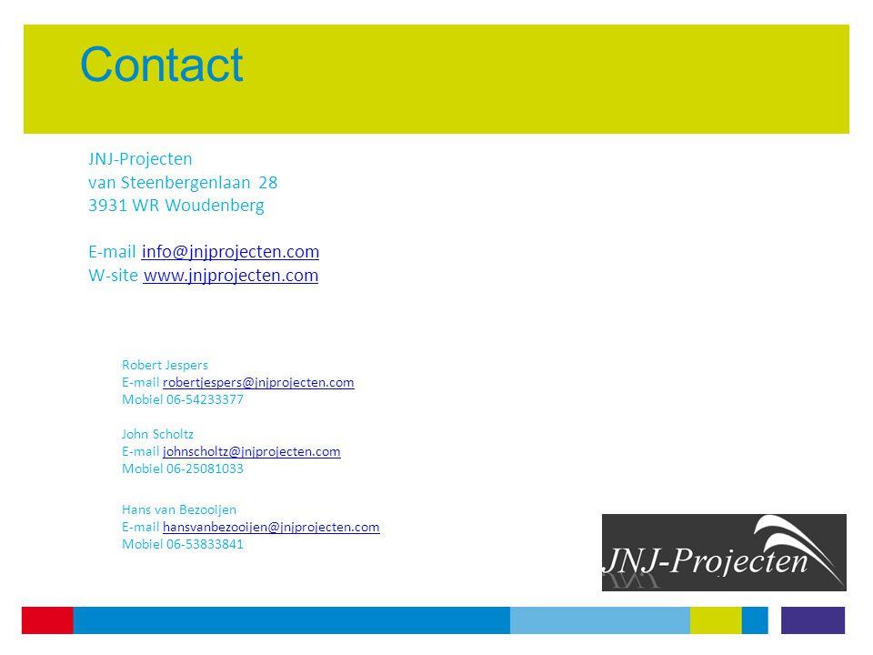 Contact JNJ-Projecten van Steenbergenlaan 28 3931 WR Woudenberg E-mail info@jnjprojecten.cominfo@jnjprojecten.com W-site www.jnjprojecten.comwww.jnjprojecten.com Robert Jespers E-mail robertjespers@jnjprojecten.comrobertjespers@jnjprojecten.com Mobiel 06-54233377 John Scholtz E-mail johnscholtz@jnjprojecten.comjohnscholtz@jnjprojecten.com Mobiel 06-25081033 Hans van Bezooijen E-mail hansvanbezooijen@jnjprojecten.comhansvanbezooijen@jnjprojecten.com Mobiel 06-53833841