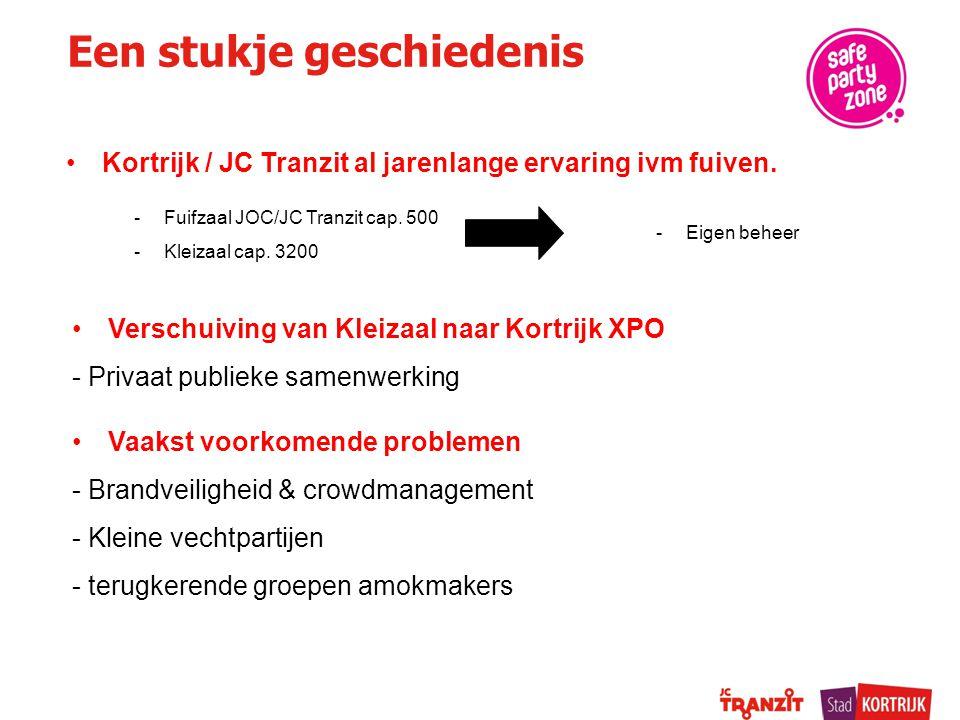 Een stukje geschiedenis Kortrijk / JC Tranzit al jarenlange ervaring ivm fuiven. -Fuifzaal JOC/JC Tranzit cap. 500 -Kleizaal cap. 3200 Verschuiving va