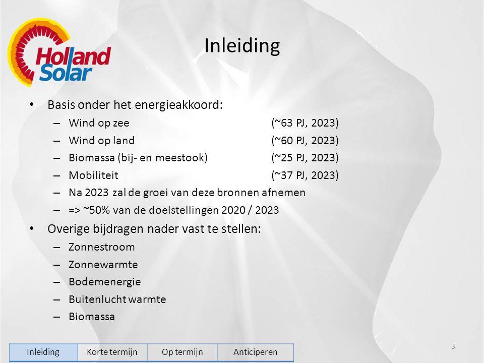 Inleiding Basis onder het energieakkoord: – Wind op zee(~63 PJ, 2023) – Wind op land(~60 PJ, 2023) – Biomassa (bij- en meestook)(~25 PJ, 2023) – Mobiliteit(~37 PJ, 2023) – Na 2023 zal de groei van deze bronnen afnemen – => ~50% van de doelstellingen 2020 / 2023 Overige bijdragen nader vast te stellen: – Zonnestroom – Zonnewarmte – Bodemenergie – Buitenlucht warmte – Biomassa 3 InleidingKorte termijnOp termijnAnticiperen