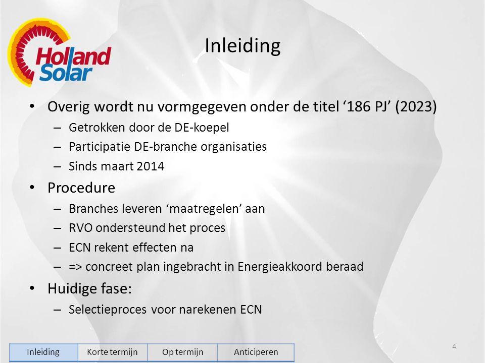 Inleiding Overig wordt nu vormgegeven onder de titel '186 PJ' (2023) – Getrokken door de DE-koepel – Participatie DE-branche organisaties – Sinds maart 2014 Procedure – Branches leveren 'maatregelen' aan – RVO ondersteund het proces – ECN rekent effecten na – => concreet plan ingebracht in Energieakkoord beraad Huidige fase: – Selectieproces voor narekenen ECN 4 InleidingKorte termijnOp termijnAnticiperen