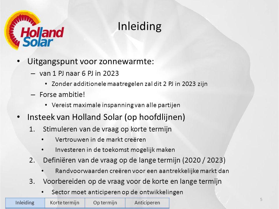 Inleiding Uitgangspunt voor zonnewarmte: – van 1 PJ naar 6 PJ in 2023 Zonder additionele maatregelen zal dit 2 PJ in 2023 zijn – Forse ambitie! Vereis