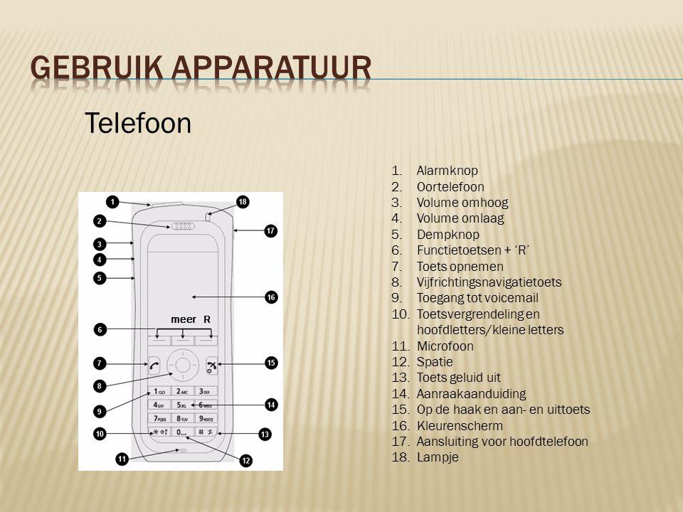1.Alarmknop 2.Oortelefoon 3.Volume omhoog 4.Volume omlaag 5.Dempknop 6.Functietoetsen + 'R' 7.Toets opnemen 8.Vijfrichtingsnavigatietoets 9.Toegang tot voicemail 10.Toetsvergrendeling en hoofdletters/kleine letters 11.Microfoon 12.Spatie 13.Toets geluid uit 14.Aanraakaanduiding 15.Op de haak en aan- en uittoets 16.Kleurenscherm 17.Aansluiting voor hoofdtelefoon 18.Lampje Telefoon Rmeer