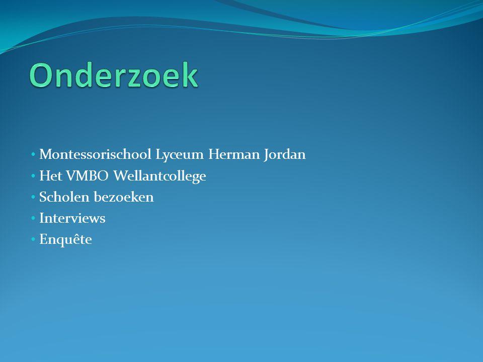 Montessorischool Lyceum Herman Jordan Het VMBO Wellantcollege Scholen bezoeken Interviews Enquête