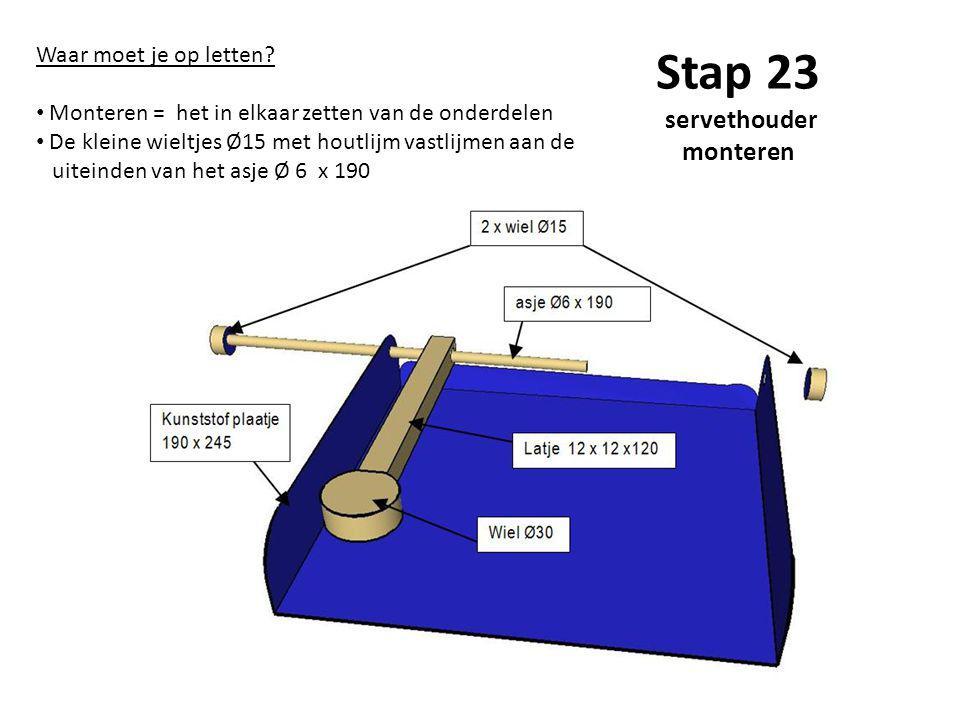 Stap 23 servethouder monteren Waar moet je op letten? Monteren = het in elkaar zetten van de onderdelen De kleine wieltjes Ø15 met houtlijm vastlijmen