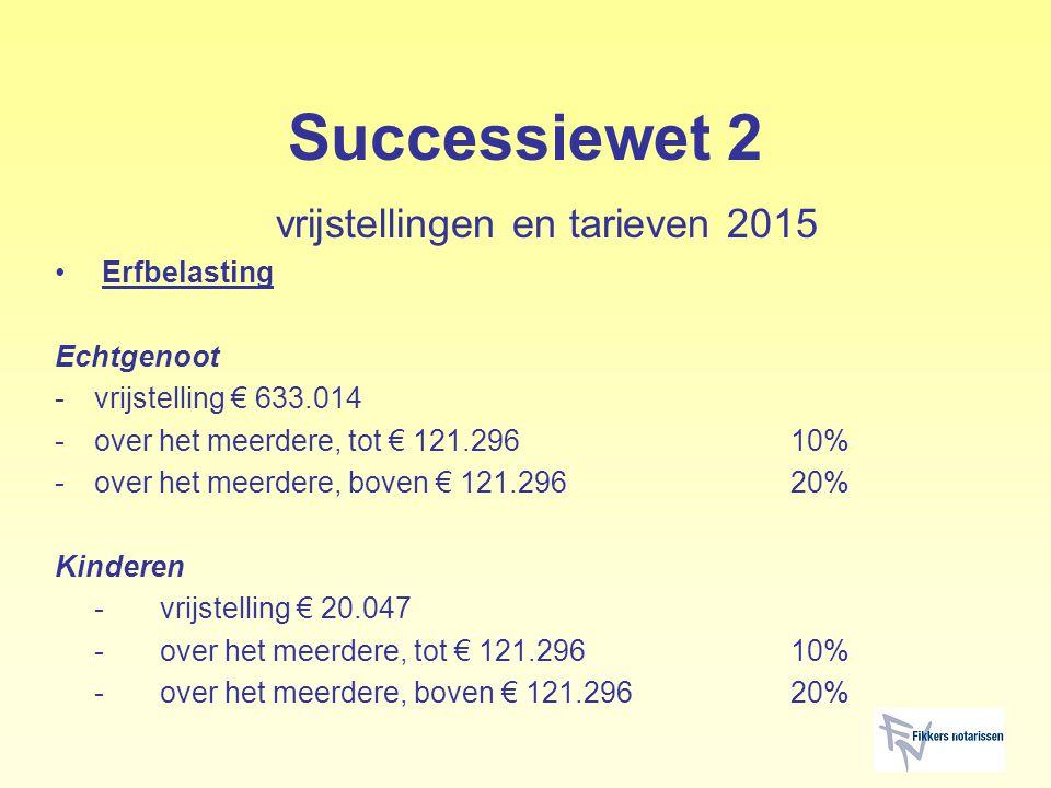 Successiewet 2 vrijstellingen en tarieven 2015 Erfbelasting Echtgenoot -vrijstelling € 633.014 -over het meerdere, tot € 121.29610% -over het meerdere