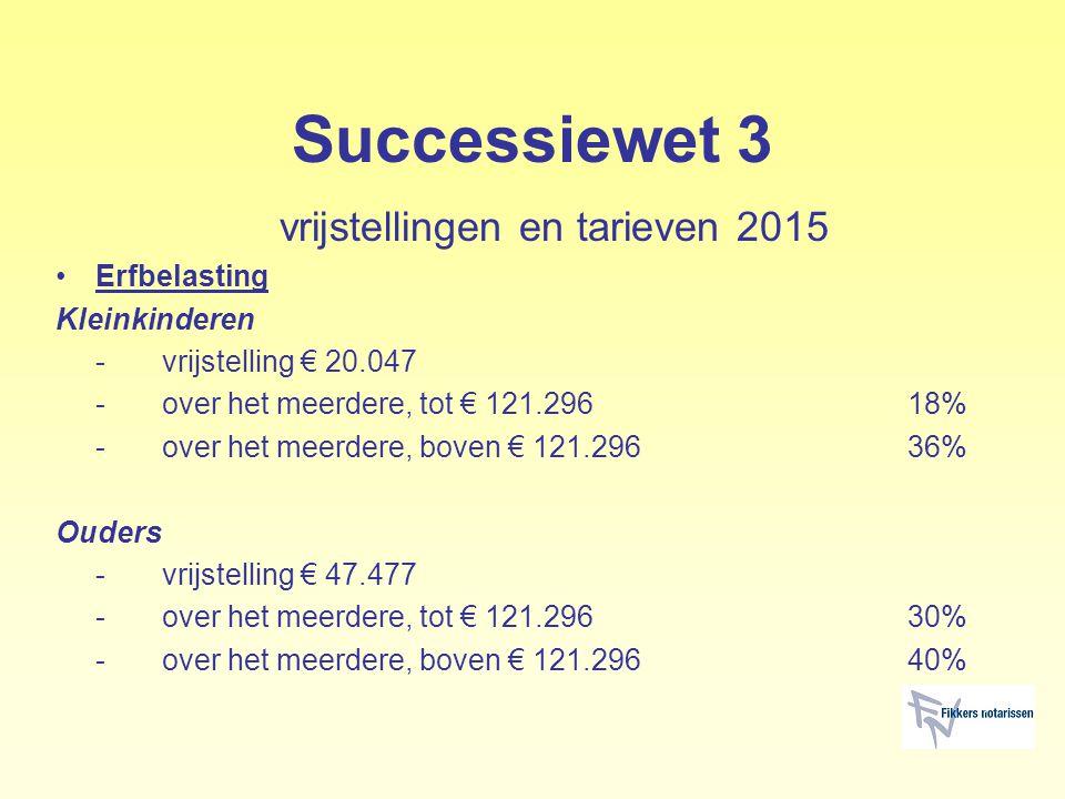 Successiewet 3 vrijstellingen en tarieven 2015 Erfbelasting Kleinkinderen -vrijstelling € 20.047 -over het meerdere, tot € 121.29618% -over het meerde