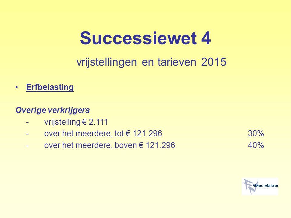 Successiewet 4 vrijstellingen en tarieven 2015 Erfbelasting Overige verkrijgers -vrijstelling € 2.111 -over het meerdere, tot € 121.29630% -over het m