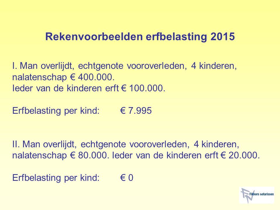 Rekenvoorbeelden erfbelasting 2015 I. Man overlijdt, echtgenote vooroverleden, 4 kinderen, nalatenschap € 400.000. Ieder van de kinderen erft € 100.00