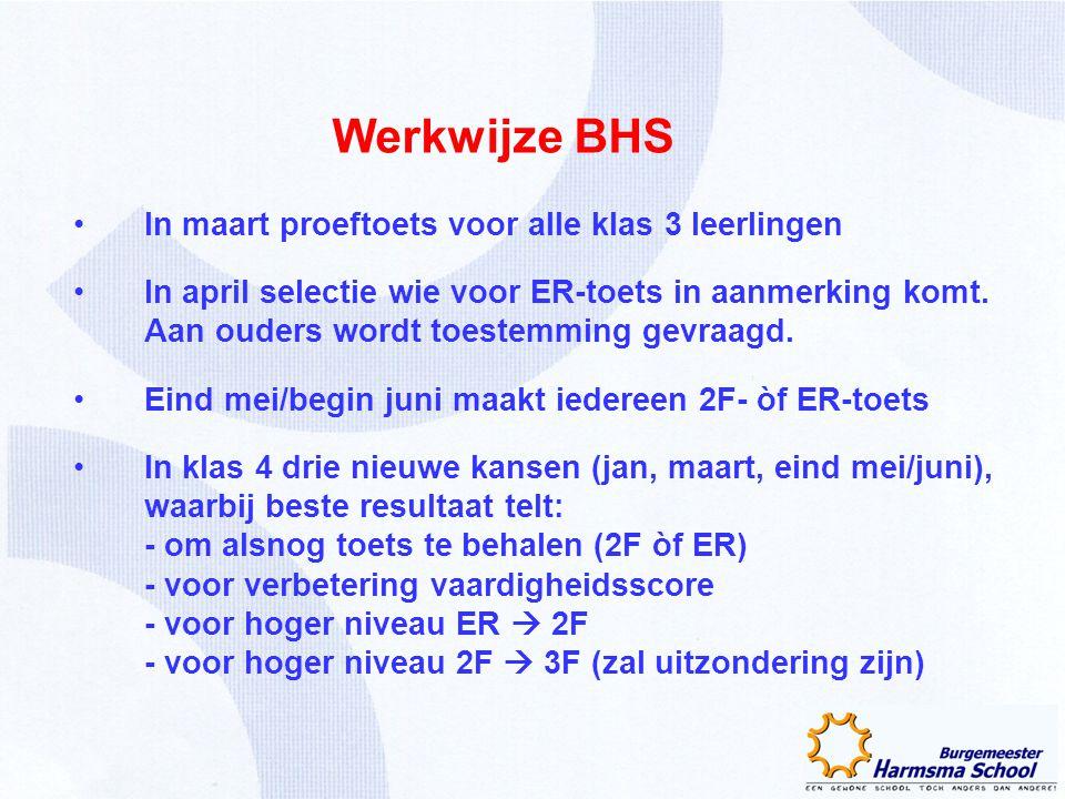 Werkwijze BHS In maart proeftoets voor alle klas 3 leerlingen In april selectie wie voor ER-toets in aanmerking komt. Aan ouders wordt toestemming gev