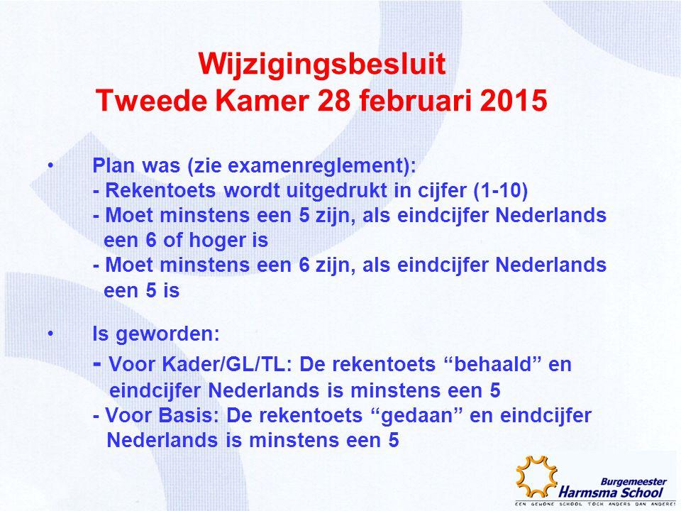 Wijzigingsbesluit Tweede Kamer 28 februari 2015 Plan was (zie examenreglement): - Rekentoets wordt uitgedrukt in cijfer (1-10) - Moet minstens een 5 z