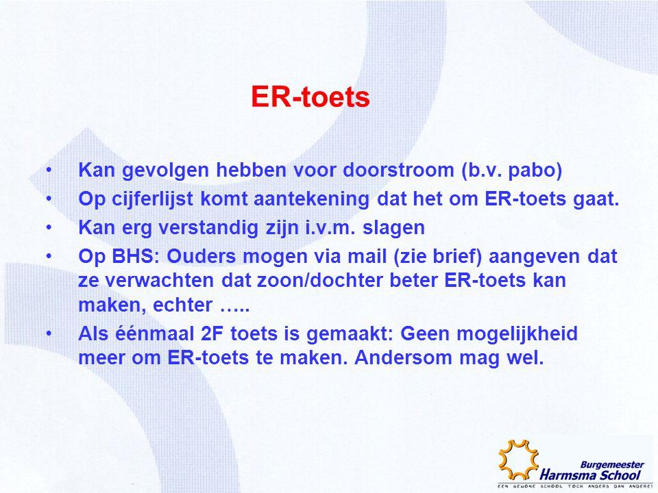 ER-toets Kan gevolgen hebben voor doorstroom (b.v. pabo) Op cijferlijst komt aantekening dat het om ER-toets gaat. Kan erg verstandig zijn i.v.m. slag