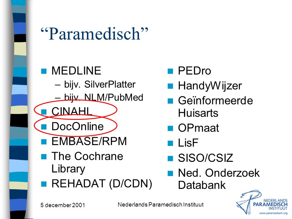 5 december 2001 Nederlands Paramedisch Instituut (Bio)medisch MEDLINE –bijv.