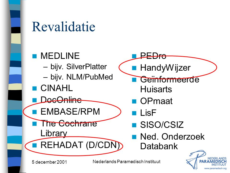"5 december 2001 Nederlands Paramedisch Instituut ""Paramedisch"" MEDLINE –bijv. SilverPlatter –bijv. NLM/PubMed CINAHL DocOnline EMBASE/RPM The Cochrane"