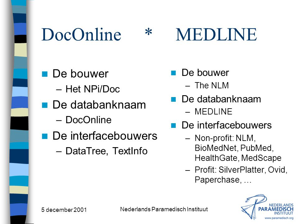 5 december 2001 Nederlands Paramedisch Instituut MEDLINE Index Medicus Online