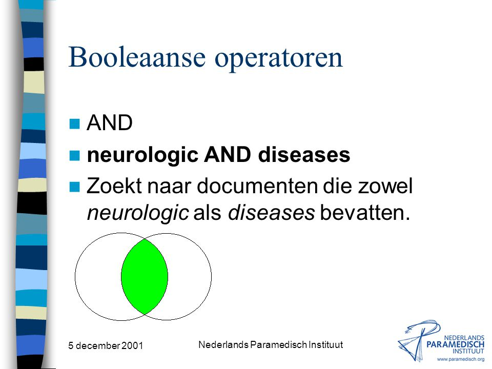 5 december 2001 Nederlands Paramedisch Instituut Booleaanse operatoren AND OR NOT ADJ NEAR WITH