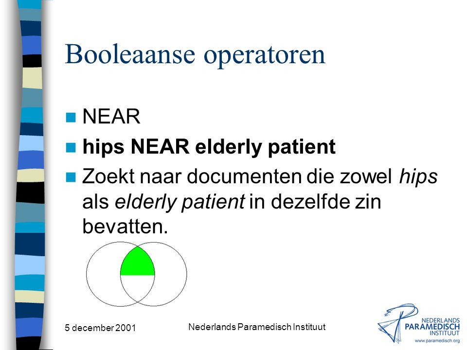 "5 december 2001 Nederlands Paramedisch Instituut Booleaanse operatoren ADJ neurologic ADJ diseases Zoekt naar documenten die ""neurologic diseases"" bev"