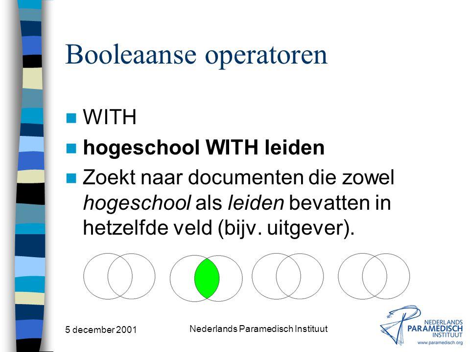 5 december 2001 Nederlands Paramedisch Instituut Booleaanse operatoren NEAR hips NEAR elderly patient Zoekt naar documenten die zowel hips als elderly