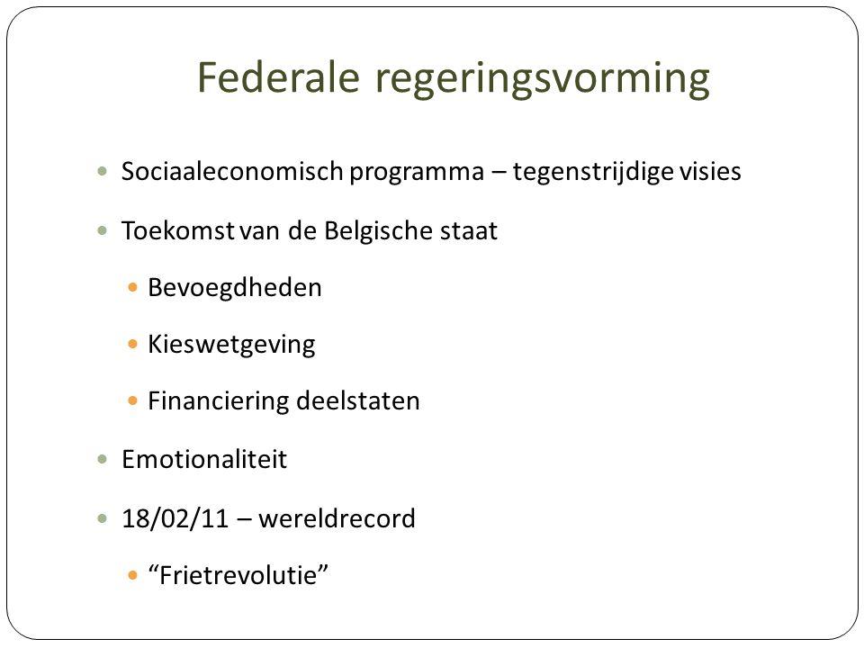 Federale regeringsvorming Sociaaleconomisch programma – tegenstrijdige visies Toekomst van de Belgische staat Bevoegdheden Kieswetgeving Financiering