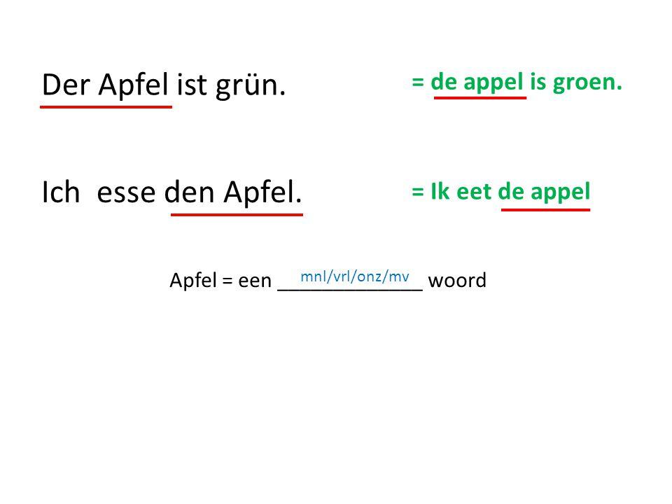 Ich esse den Apfel. Der Apfel ist grün. = de appel is groen. = Ik eet de appel Apfel = een _____________ woord mnl/vrl/onz/mv