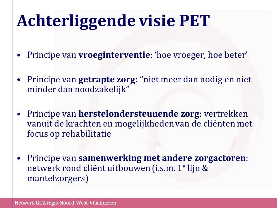 """Netwerk GGZ regio Noord-West-Vlaanderen Achterliggende visie PET Principe van vroeginterventie: 'hoe vroeger, hoe beter' Principe van getrapte zorg: """""""
