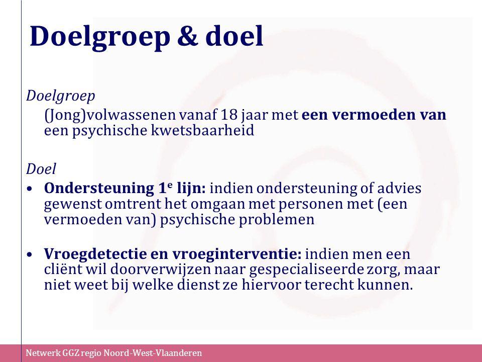 Netwerk GGZ regio Noord-West-Vlaanderen Doelgroep & doel Doelgroep (Jong)volwassenen vanaf 18 jaar met een vermoeden van een psychische kwetsbaarheid