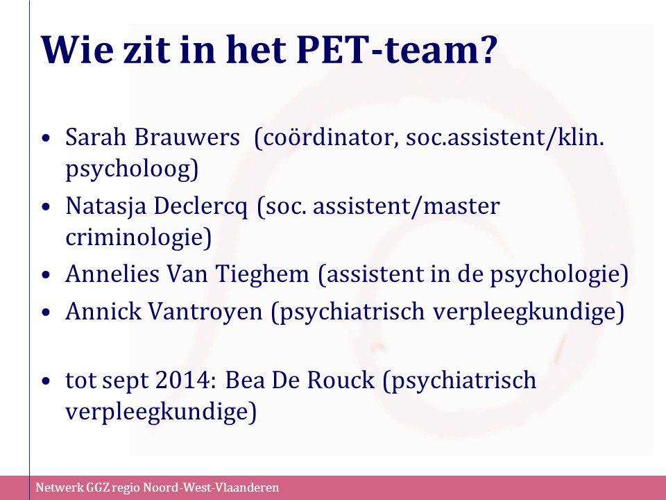 Netwerk GGZ regio Noord-West-Vlaanderen Wie zit in het PET-team? Sarah Brauwers (coördinator, soc.assistent/klin. psycholoog) Natasja Declercq (soc. a