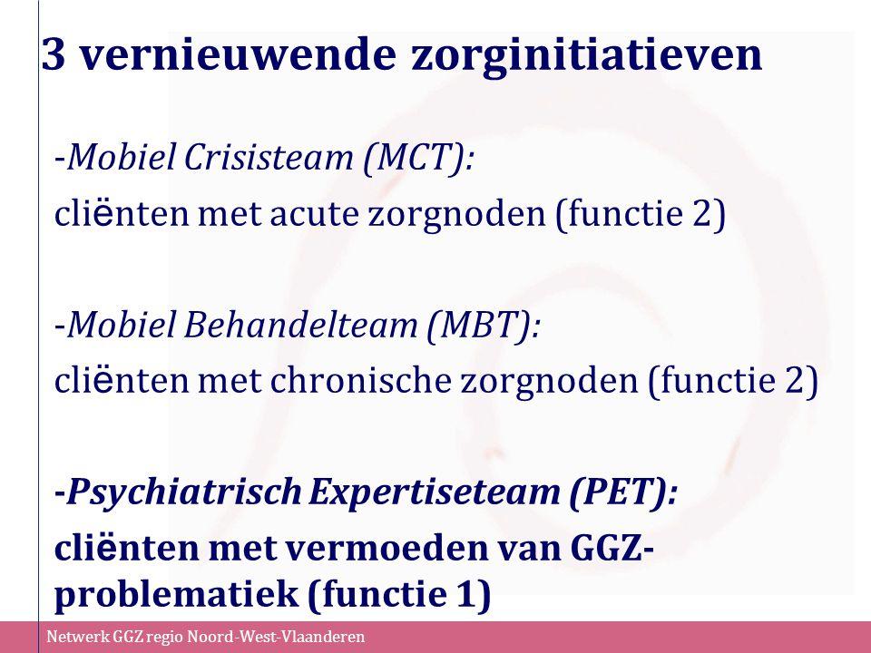 Netwerk GGZ regio Noord-West-Vlaanderen 3 vernieuwende zorginitiatieven -Mobiel Crisisteam (MCT): cli ë nten met acute zorgnoden (functie 2) -Mobiel B