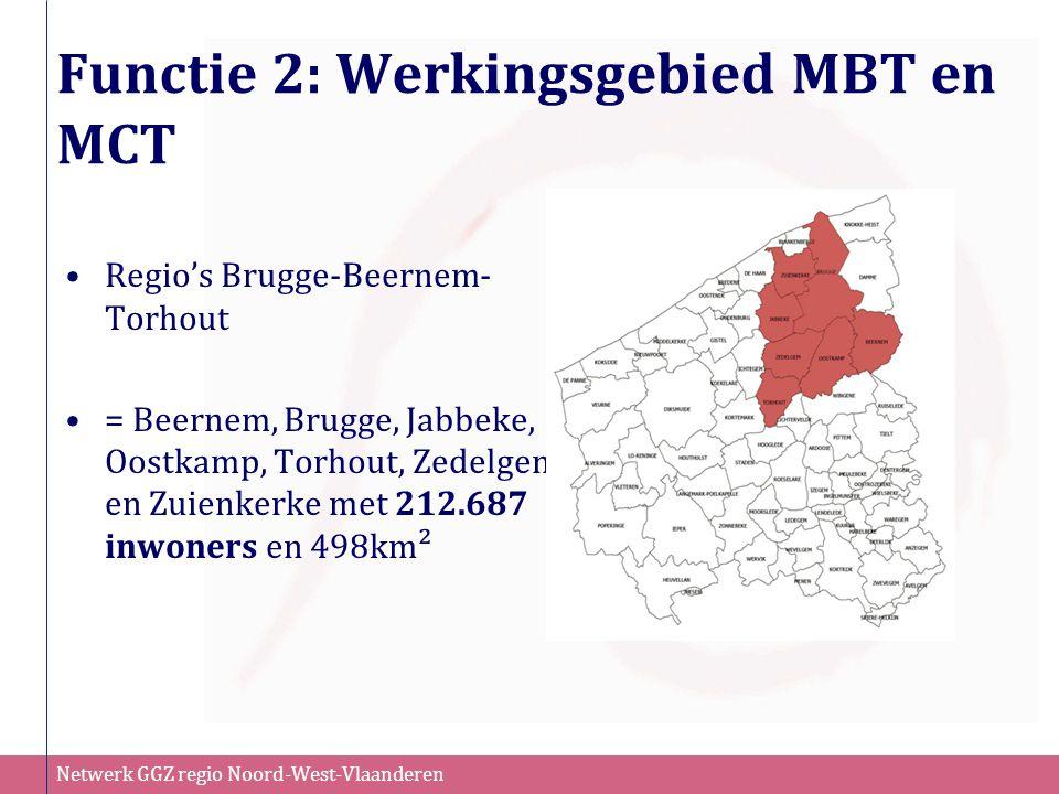 Netwerk GGZ regio Noord-West-Vlaanderen Functie 2: Werkingsgebied MBT en MCT Regio's Brugge-Beernem- Torhout = Beernem, Brugge, Jabbeke, Oostkamp, Tor