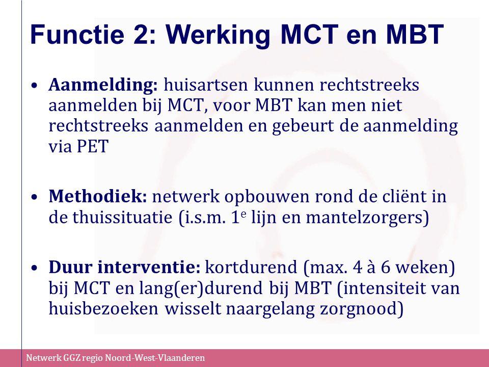 Netwerk GGZ regio Noord-West-Vlaanderen Functie 2: Werking MCT en MBT Aanmelding: huisartsen kunnen rechtstreeks aanmelden bij MCT, voor MBT kan men n
