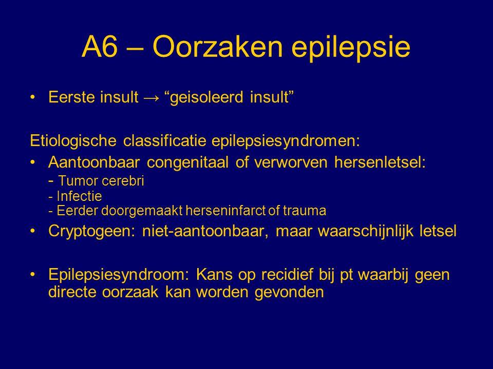 """A6 – Oorzaken epilepsie Eerste insult → """"geisoleerd insult"""" Etiologische classificatie epilepsiesyndromen: Aantoonbaar congenitaal of verworven hersen"""